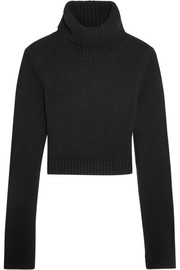 Cropped cashmere turtleneck sweater