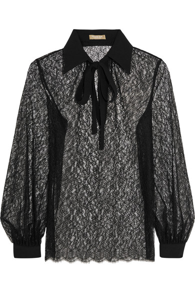Michael Kors Collection - Pussy-bow Crepe-trimmed Chantilly Lace Blouse - Black
