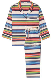 Marina striped cotton-poplin pajama set