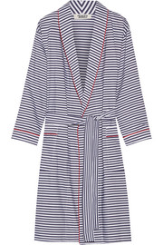 Isa striped cotton-poplin robe