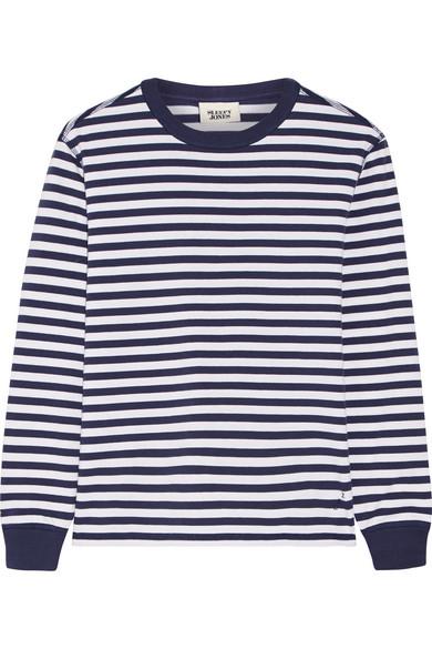 Sleepy Jones - Helen Striped Cotton-jersey Pajama Top - Navy