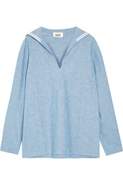 Francine cotton-chambray pajama top