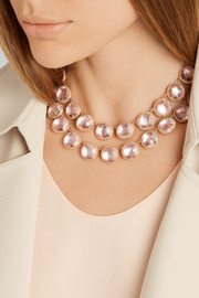 Larkspur & Hawk Olivia Button Rivière rose gold-dipped topaz necklace