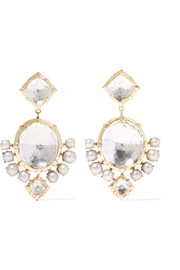Larkspur & Hawk Bella Compass gold, quartz and pearl earrings