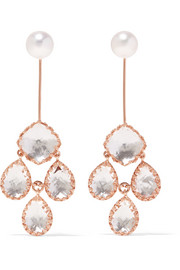 Larkspur & Hawk Antoinette Suspended Girandole rose gold-dipped, quartz and pearl earrings