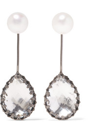 Larkspur & Hawk Antoinette black rhodium-dipped, quartz and pearl earrings