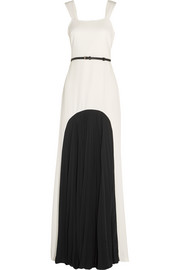 Belted crepe and pleated georgette gown