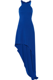 Asymmetric satin-paneled stretch-crepe gown