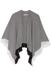 London fringed wool and cashmere-blend wrap