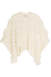 London fringed wool and cashmere-blend poncho