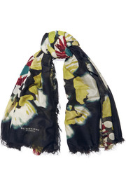 Floral-print cotton and silk-blend scarf