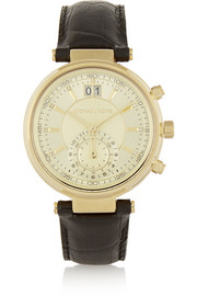 Sawyer croc-effect leather and gold-tone watch