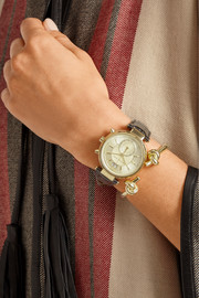 Michael Kors Sawyer croc-effect leather and gold-tone watch