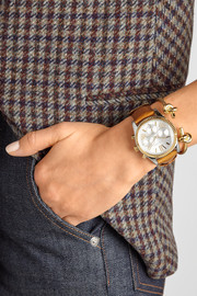 Michael Kors Lexington leather, silver and gold-tone watch