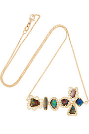 18-karat gold, opal and diamond necklace