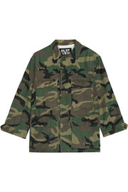Camouflage-print cotton-blend jacket