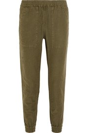 Cotton and hemp-blend track pants