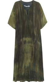 Tie-dyed silk-charmeuse dress