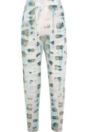 Tie-dyed cotton-blend jersey track pants