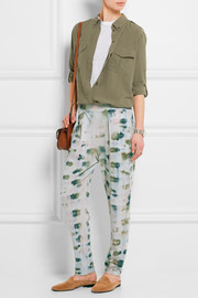 Raquel Allegra Tie-dyed cotton-blend jersey track pants