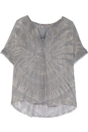 Tie-dyed silk-georgette top