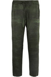Tie-dyed silk-charmeuse tapered pants