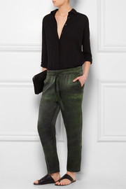 Raquel Allegra Tie-dyed silk-charmeuse tapered pants