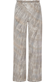 Tie-dyed washed-silk wide-leg pants