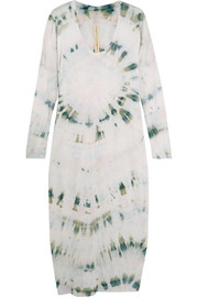 Tie-dyed cotton-blend jersey midi dress