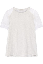 Lace-paneled cotton-jersey T-shirt