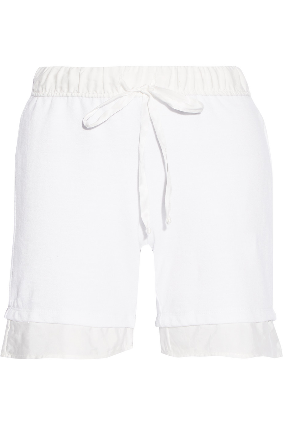 CLU Twill-Trimmed Cotton-Blend Shorts, White, Women's