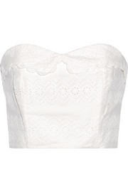 Strapless broderie anglaise cotton bustier top