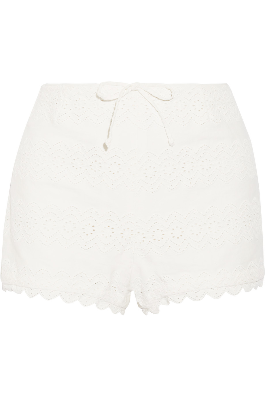 Broderie Anglaise Cotton Shorts, Off-White, Women's, Size: 28