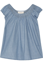 Embroidered cotton-chambray top