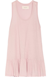 Ruffled cotton-jersey tank
