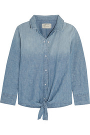 The Western tie-front cotton-blend chambray shirt