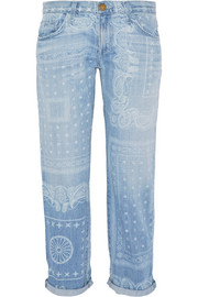 The Boyfriend cropped printed mid-rise jeans