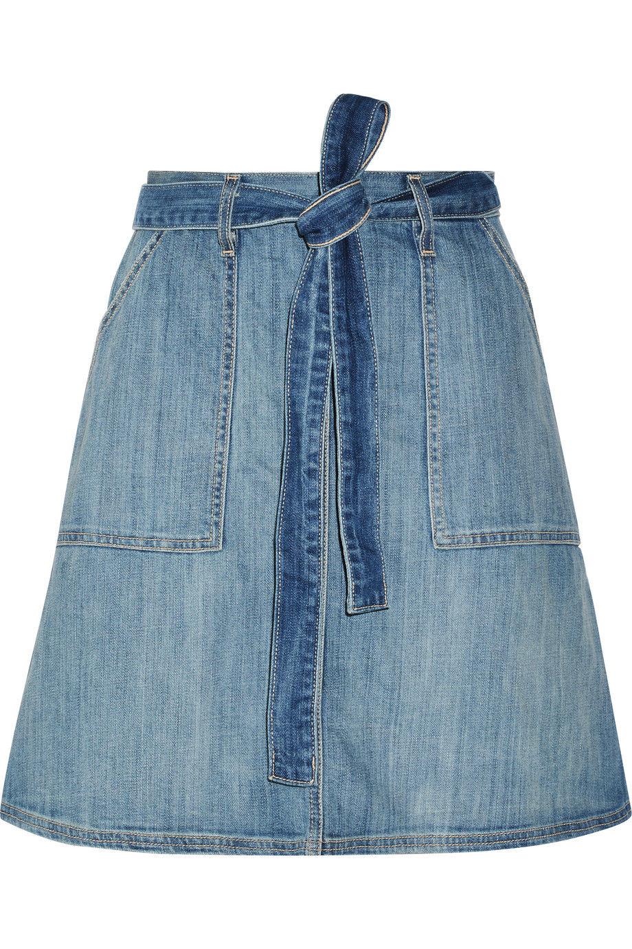 Current/Elliott The Wrap Stretch-Denim Skirt, Mid Denim, Women's, Size: 0