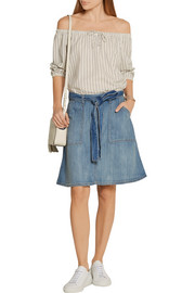 The Wrap stretch-denim skirt