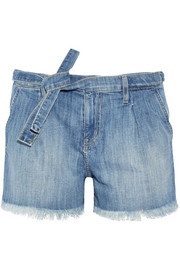 The Pleated cut-off stretch-denim shorts