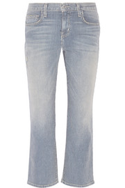 The Kick striped mid-rise bootcut jeans