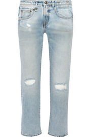 Cropped distressed mid-rise boyfriend jeans