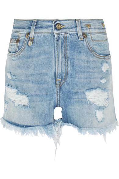 Distressed cut-off denim shorts