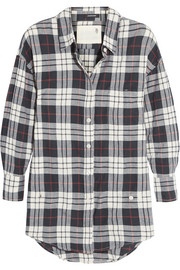 Wrap-effect plaid cotton-blend shirt