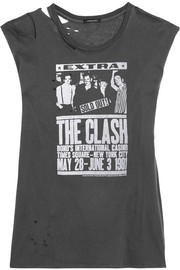 Clash distressed printed cotton and cashmere-blend jersey T-shirt