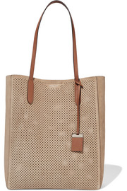 Eleanor leather-trimmed perforated suede tote