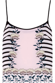 Blooming Flower printed silk-crepe tank