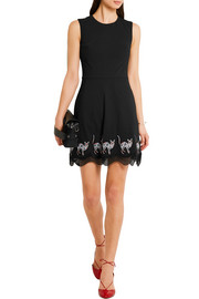 Markus Lupfer Guipure lace-trimmed embroidered wool-crepe mini dress