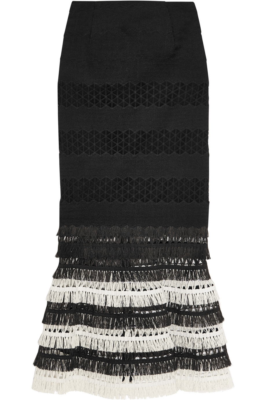 Fringed Macramé Skirt, Jonathan Simkhai, Black, Women's, Size: 6