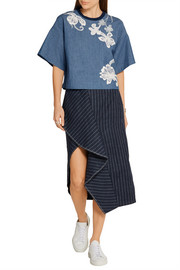3.1 Phillip Lim Silk-trimmed embroidered cotton-chambray top